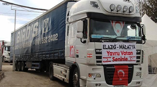 Yavru vatan Kıbrıs'tan depremzedelere 2 tır yardım