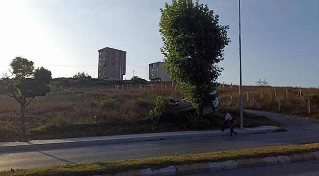 Arnavutköy'de panelvan araç takla attı: 1 yaralı