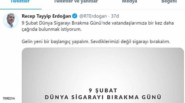 Cumhurbaşkanı Erdoğan'dan 'Dünya Sigarayı Bırakma' günü paylaşımı