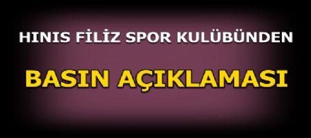 Hınıs Filiz Spor Kulübü'nden Basın Açıklaması.